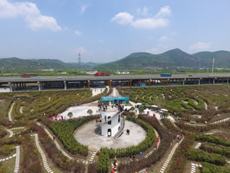 The world's largest hedge maze in Ningbo, China.