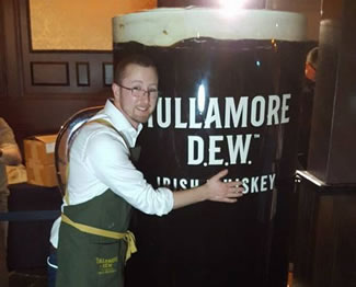 US Brand Ambassador for Tullamore Dew Whiskey, Tim Herlihy with the world's biggest Irish Coffee.
