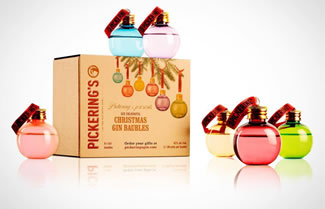 Pickering's Gin have created their own collection of baubles, each made of colourful glass (so they look quite pretty) and filled with 50ml of gin. They're available in packs of six baubles for £30.