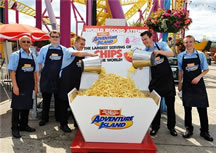 largest serving of chips Adventure Island