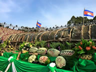 The giant sticky rice cake, made to celebrate the Angkor Sankranta Festival 2015 (in Siem Reap City), weighed 4.04 tons, it is one meter in diameter and five meters long and took 45 hours to cook, setting the new world record for the Largest sticky rice cake (Ansom)