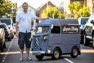 Yannick Read, 45, built the miniature road-legal version of the iconic Citroen H van with his three children, 12-year-old Noah, Bertie, nine, and Olive, seven.