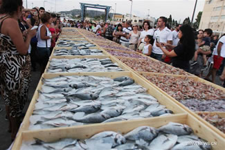 A total of 2,613.8 kg seafood were displayed on Sunday, Sept. 4, 2016, in Batroun, Lebanon, breaking a Guinness World Record for the largest seafood display.