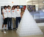 largest cup pyramid Ideal Schools students