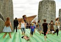 longest marathon on a bounc castle by a team world record set in Weston-super-Mare, Somerset, UK