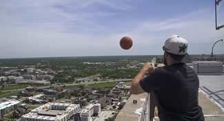 Five friends from Frisco, Texas, known as Dude Perfect smashed 11 Guinness World Records while filming a video for their YouTube channel. The list of records includes the Greatest height from which a basketball is shot and now stands at 533ft (162.45m). The shot was performed from Cotter Ranch Tower in Oklahoma City, Oklahoma, and bettered the previous record ? Australian Brett Standord's 415ft (126.5m) ? by a remarkable 118ft (35.95m).