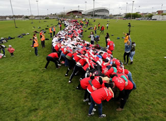 the event saw the existing Guinness World Record for the largest scrum ever of just short of 1,600 turned over as 1,740 put their shoulders behind the initiative.