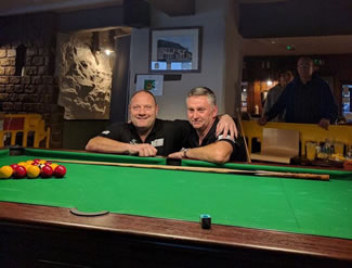 Darren Stocks of Crown Property Management and Graham Guthbert, landlord of the Bell Inn, Kingsteignton, started playing pool at noon on Wednesday, February 22, and finished on Sunday, February 26 at 10pm.