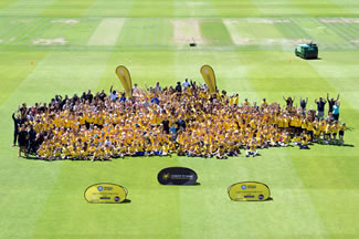 580 school children from Chance to Shine schools, in partnership with MCC, broke a Guiness World Record for the largest cricket lesson (single venue) at Lord's