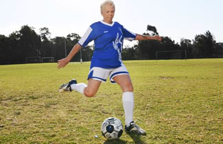 The 65-year-old mother of four, grandmother to 10 and great grandmother, plays in the division 3 all ages ladies team for Liverpool Rangers Soccer Club in the Southern District Soccer Football Association.