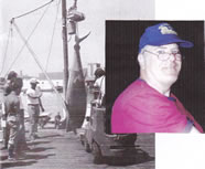 "The first World Tuna Tournament in Gloucester, Mass. Aug 24th /30th 1980, attracted about 80 boats filled with fisherman eager for a chance to win one of the three prizes totaling $100,000. Competing against eighty eight participants and thirty four fish caught,Kieran O'Neill, Owner/ Skipper of ""The 22Ft Carp boat"" hooked & landed the category for longest/heaviest Fish, with a 1.037 pounds and 9Ft 11 inches yellowfin tuna, Picture Taken at the Gloucester dock official weigh in station."