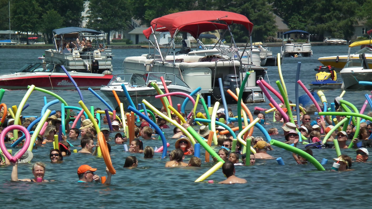 Most People Floating On Noodles Lake Lotawana Sets World Record Video