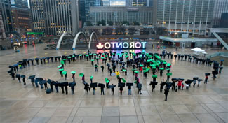CNIB kicked off its centennial year with Eye Believe, a flash mob in Nathan Phillips Square. Hundreds of community members gathered to set the World Record for the largest formation of the human eye.