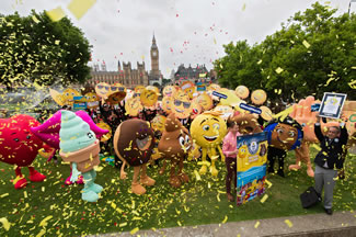 In anticipation of World Emoji Day, and the upcoming worldwide release of The Emoji Movie, emoji fans around the world celebrated by setting the world's first world record title for the Largest gathering of people dressed as emoji faces simultaneously across multiple venues.