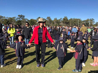 Stretton State College successfully hosted a World Record event for the longest chain of people clasping wrists to raise awareness and funding for the National Charity 'Hand in Hand' Fighting Brain Cancer. The world record was achieved through 3,300 people holding hands at once and eclipsed the previous record set at 2,950.
