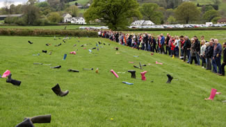 New World record for 'The Most People Throwing Wellington Boots Simultaneously'.
