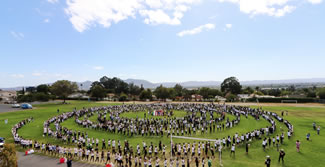 Students, staff and teen-aged visitors from Japan broke the Japanese Fan Dance World Record at John Muir Middle School on Thursday, September 21, as part of the school's annual Japan Day cultural appreciation celebration.