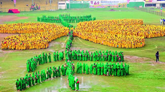 About 3,000 women clad in yellow and greensaris had formed the shape of a Thangedu, thus setting the new world record for the Largest human thangedu flower, according to the World Record Academy.