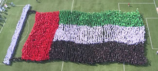 Over 4,130 students from GEMS Education schools in the UAE gathered to form the 'World's Largest Human Waving Flag' and set a world record. The students, from GEMS Cambridge International School - Abu Dhabi, and GEMS United Indian School, were all dressed in the National flag colors, creating an image of the country's flag waving.