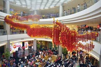 Lucky Chinatown set a new world record for the largest display of origami lanterns. The dragon shaped display consisted of 19,999 origami lanterns.