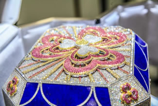 A $3.5 million gold jewelry box encrusted with diamonds, sapphires and rubies has been unveiled in Doha this week. Certified by Guinness World Records as the world's most valuable jewelry box, the piece made its Middle East debut at the annual Doha Jewellery & Watches Exhibition (DJWE).