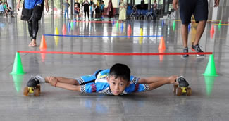 A nine-year-old Indian boy from Manipur, northeast India, has set a new World Record in limbo skating. Tiluck Keisam skated beneath 146 bars over a 145-meter stretch in just 56.01 seconds.