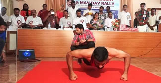 C Pradeep, bettered the world record by doing 99 push-ups in one minute.