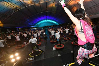375 participants bounced to a new World Records for Most People on Trampolines at Fitness Marathon 2017 at The Lawn @ Marina Bay. The Fitness Marathon and trampoline record-breaking session were organised by the Geylang Serai Community Sports Club to encourage healthy living.