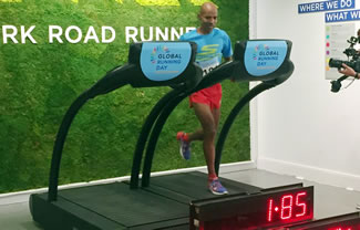 More than 250 runners, including a handful of professionals, teamed up in midtown Manhattan to set the World Record for most people in a treadmill relay.