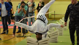 Kerim Ahmetspahic, a 16-year-old Bosnian blackbelt in taekwondo, smashed 111 concrete blocks with his noggin in a mere 35 seconds.