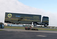 - EMC teamed up with the Lotus F1 Team and managed to take down the Guinness World Records record for a truck jump; the record-breaking attempt took place at Bentwaters Park, Suffolk in United Kingdom and behind the wheel of the truck was stuntman Mike Ryan (UK), who managed to jump the huge semi-truck no less than 83 feet and 7 inches over a moving Lotus Formula 1 car driven by Martin Ivanov, setting the new world record for the longest ramp jump by a truck and trailer, according to the World Record Academy: www.worldrecordacademy.com/.