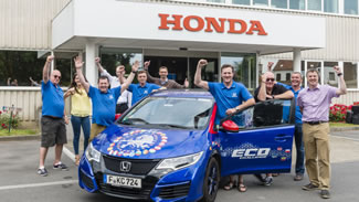Honda has set a new world record title for 'Lowest fuel consumption ? all 24 contiguous EU countries (all cars)', recording an average 2.82 litres per 100km (100.31mpg) over 13,498km (8,387 miles), in a 25 day drive across all 24 EU contiguous countries. The car achieved an incredible average 1500km (932 miles) on each tank of fuel, at a total fuel cost for the whole journey of just 645 Euros* (£459).