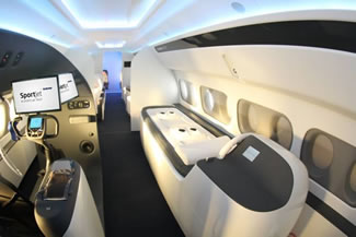 Sukhoi Civil Aircraft, the producer of the Superjet 100 new-generation regional jet for the global market, introduced the concept of a new aircraft with the cabin designed to fly professional sports teams, at Farnborough International Airshow 2016.