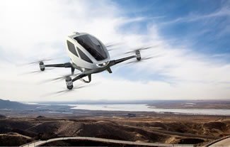 EHang 184 is the world's first passenger drone, capable of autonomously carrying a person in the air for 23 minutes. The Ehang 184 can carry a passenger weighing up to 264 pounds, and can reach a maximum flying altitude of 11,480 feet. The drone can reportedly be controlled entirely through a mobile app.