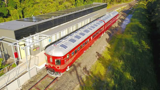 A refurbished 70-year-old 'red rattler' is running on a three-kilometre stretch on the New South Wales North Coast, powered entirely by solar energy, which sets the world record for the World's First Solar Train, according to the World Record Academy.