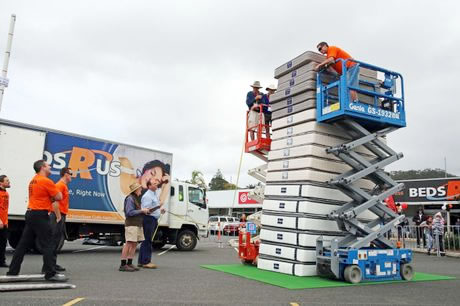 stack of mattresses. The New World Record, Just Shy Of 4.5 Metres (at 4.495 Metres), Surpassed Previous Height 4.16 Set In United States By Mattress Firm Stack Mattresses