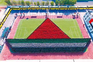 A total of 4,882 students from the India International School of the PACE Education Group entered the Book of World Records for creating the largest human image of a boat, according to the World Record Academy.